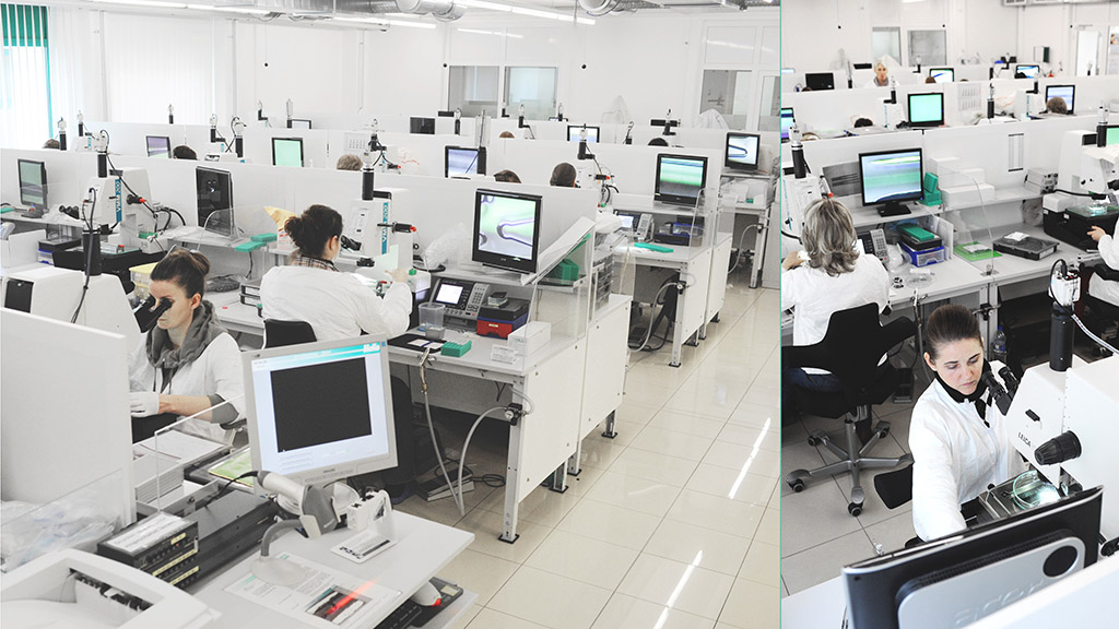 100 % final visual inspection with microscopes